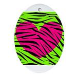 Hot Pink Green Zebra Striped Heart Ornament (Oval)