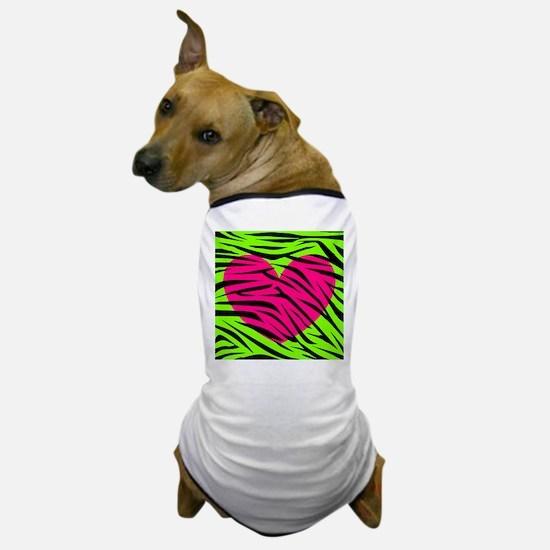 Hot Pink Green Zebra Striped Heart Dog T-Shirt