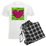 Hot Pink Green Zebra Striped Heart Pajamas