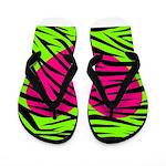 Hot Pink Green Zebra Striped Heart Flip Flops