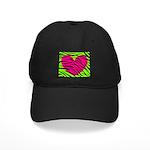 Hot Pink Green Zebra Striped Heart Baseball Hat