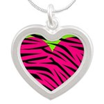 Hot Pink Green Zebra Striped Heart Necklaces