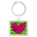 Hot Pink Green Zebra Striped Heart Keychains