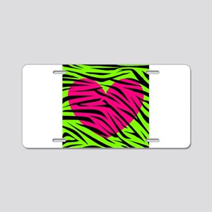 Hot Pink Green Zebra Striped Heart Aluminum Licens