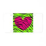 Hot Pink Green Zebra Striped Heart Aluminum Licens