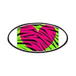 Hot Pink Green Zebra Striped Heart Patch