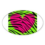 Hot Pink Green Zebra Striped Heart Sticker