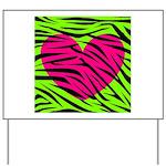 Hot Pink Green Zebra Striped Heart Yard Sign