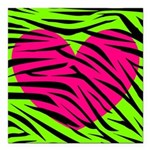 Hot Pink Green Zebra Striped Heart Square Car Magn