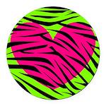 Hot Pink Green Zebra Striped Heart Round Car Magne