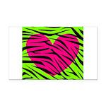 Hot Pink Green Zebra Striped Heart Rectangle Car M