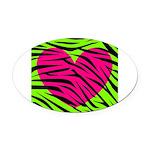 Hot Pink Green Zebra Striped Heart Oval Car Magnet