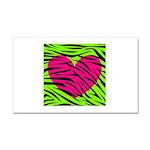 Hot Pink Green Zebra Striped Heart Car Magnet 20 x