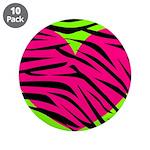 Hot Pink Green Zebra Striped Heart 3.5