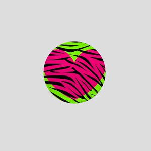 Hot Pink Green Zebra Striped Heart Mini Button