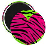 Hot Pink Green Zebra Striped Heart Magnets