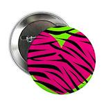 Hot Pink Green Zebra Striped Heart 2.25