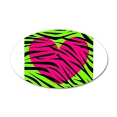 Hot Pink Green Zebra Striped Heart Wall Decal