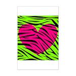 Hot Pink Green Zebra Striped Heart Posters