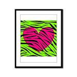 Hot Pink Green Zebra Striped Heart Framed Panel Pr