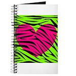 Hot Pink Green Zebra Striped Heart Journal
