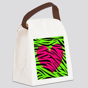 Hot Pink Green Zebra Striped Heart Canvas Lunch Ba