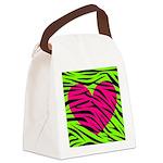 Hot Pink Green Zebra Striped Heart Canvas Lunch Ba