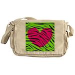 Hot Pink Green Zebra Striped Heart Messenger Bag