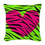Hot Pink Green Zebra Striped Heart Woven Throw Pil