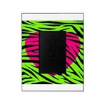 Hot Pink Green Zebra Striped Heart Picture Frame