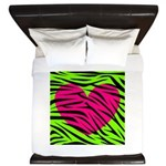 Hot Pink Green Zebra Striped Heart King Duvet