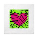 Hot Pink Green Zebra Striped Heart Queen Duvet