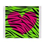 Hot Pink Green Zebra Striped Heart Throw Blanket