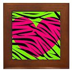 Hot Pink Green Zebra Striped Heart Framed Tile