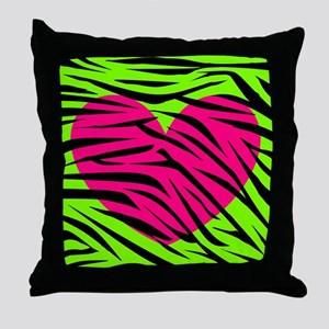 Hot Pink Green Zebra Striped Heart Throw Pillow