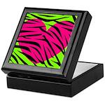 Hot Pink Green Zebra Striped Heart Keepsake Box