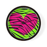 Hot Pink Green Zebra Striped Heart Wall Clock