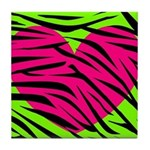 Hot Pink Green Zebra Striped Heart Tile Coaster