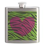 Hot Pink Green Zebra Striped Heart Flask