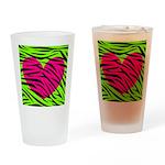 Hot Pink Green Zebra Striped Heart Drinking Glass