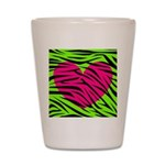 Hot Pink Green Zebra Striped Heart Shot Glass