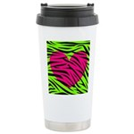 Hot Pink Green Zebra Striped Heart Travel Mug