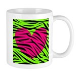 Hot Pink Green Zebra Striped Heart Mugs