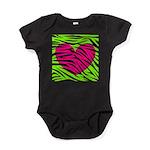 Hot Pink Green Zebra Striped Heart Baby Bodysuit