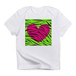 Hot Pink Green Zebra Striped Heart Infant T-Shirt