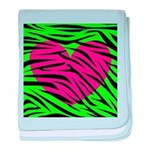 Hot Pink Green Zebra Striped Heart baby blanket