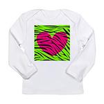 Hot Pink Green Zebra Striped Heart Long Sleeve T-S