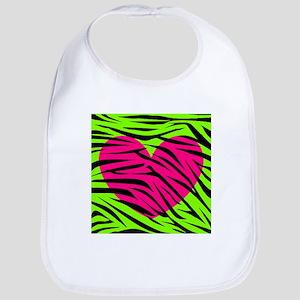 Hot Pink Green Zebra Striped Heart Bib