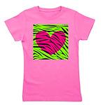Hot Pink Green Zebra Striped Heart Girl's Tee