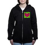 Hot Pink Green Zebra Striped Heart Women's Zip Hoo